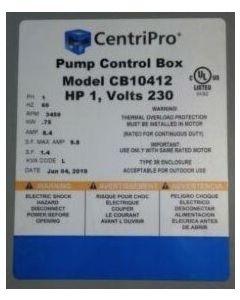 CentriPro CB10412 - 1 HP - QD Submersible Motor Control Box - 230V